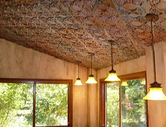 this is a faux tin ceiling tile project using 133 glue faux tin ceiling tile tile size is 24x24 more faux tin ceiling tiles can be found here